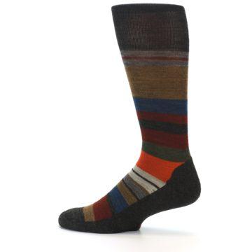 Image of Brown Multi Stripe Wool Men's Casual Socks (side-2-13)