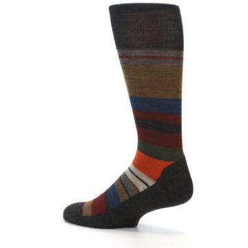 Image of Brown Multi Stripe Wool Men's Casual Socks (side-2-back-14)
