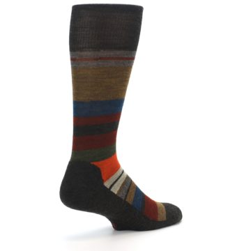 Image of Brown Multi Stripe Wool Men's Casual Socks (side-1-back-22)