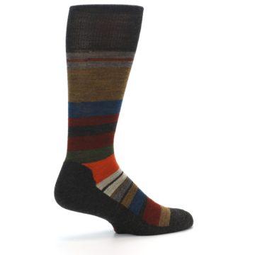 Image of Brown Multi Stripe Wool Men's Casual Socks (side-1-23)