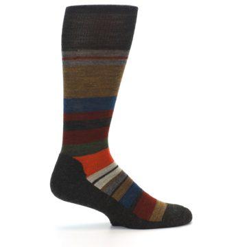 Image of Brown Multi Stripe Wool Men's Casual Socks (side-1-24)