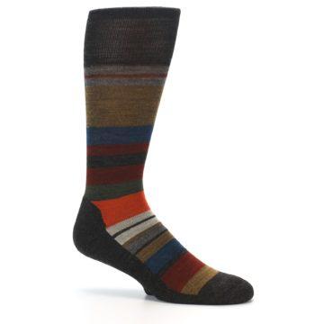 Image of Brown Multi Stripe Wool Men's Casual Socks (side-1-26)