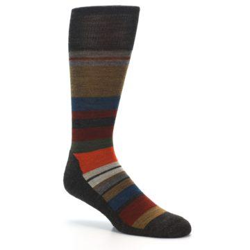 Image of Brown Multi Stripe Wool Men's Casual Socks (side-1-27)