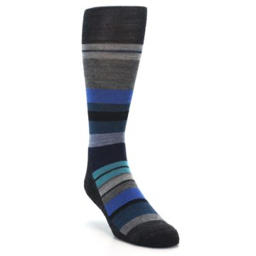 Image of Charcoal Blue Stripe Wool Men's Casual Socks (side-1-front-02)