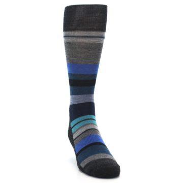 Image of Charcoal Blue Stripe Wool Men's Casual Socks (side-1-front-03)