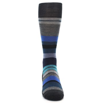 Image of Charcoal Blue Stripe Wool Men's Casual Socks (front-04)