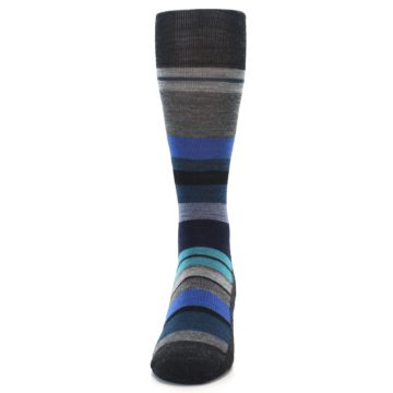Image of Charcoal Blue Stripe Wool Men's Casual Socks (front-05)
