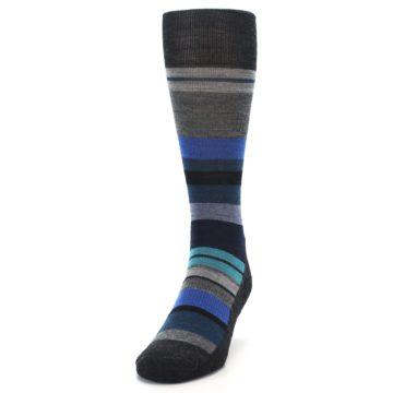 Image of Charcoal Blue Stripe Wool Men's Casual Socks (side-2-front-06)