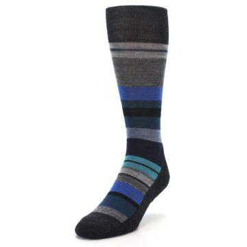 Image of Charcoal Blue Stripe Wool Men's Casual Socks (side-2-front-07)