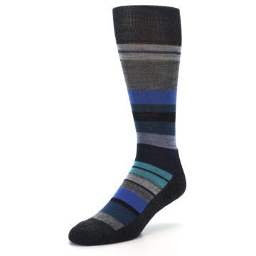 Image of Charcoal Blue Stripe Wool Men's Casual Socks (side-2-front-08)