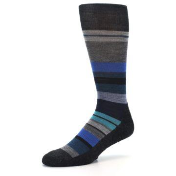Image of Charcoal Blue Stripe Wool Men's Casual Socks (side-2-09)