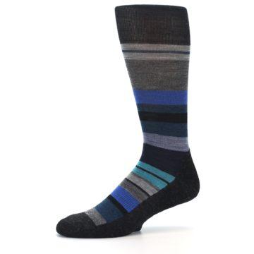 Image of Charcoal Blue Stripe Wool Men's Casual Socks (side-2-10)