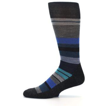Image of Charcoal Blue Stripe Wool Men's Casual Socks (side-2-11)