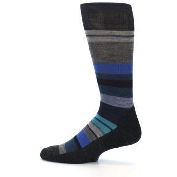 Image of Charcoal Blue Stripe Wool Men's Casual Socks (side-2-12)