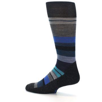 Image of Charcoal Blue Stripe Wool Men's Casual Socks (side-2-13)