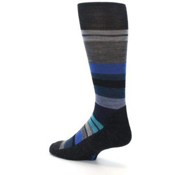 Image of Charcoal Blue Stripe Wool Men's Casual Socks (side-2-back-14)