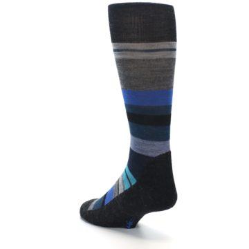 Image of Charcoal Blue Stripe Wool Men's Casual Socks (side-2-back-15)
