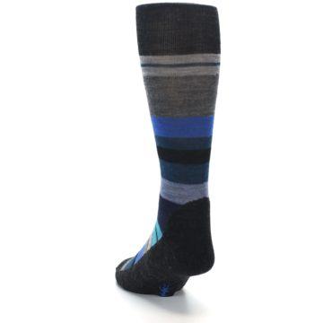 Image of Charcoal Blue Stripe Wool Men's Casual Socks (side-2-back-16)