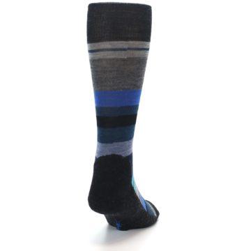 Image of Charcoal Blue Stripe Wool Men's Casual Socks (back-19)