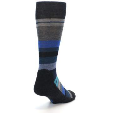 Image of Charcoal Blue Stripe Wool Men's Casual Socks (side-1-back-20)