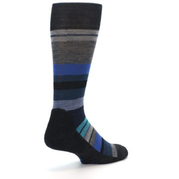 Image of Charcoal Blue Stripe Wool Men's Casual Socks (side-1-back-21)