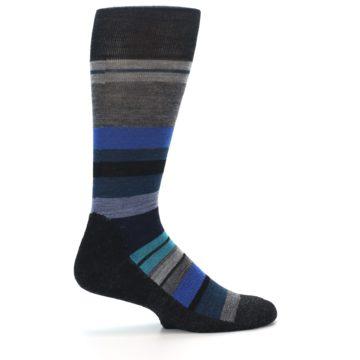 Image of Charcoal Blue Stripe Wool Men's Casual Socks (side-1-23)