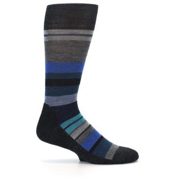 Image of Charcoal Blue Stripe Wool Men's Casual Socks (side-1-24)