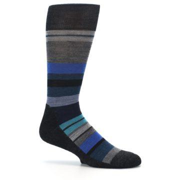 Image of Charcoal Blue Stripe Wool Men's Casual Socks (side-1-25)