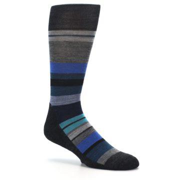 Image of Charcoal Blue Stripe Wool Men's Casual Socks (side-1-26)