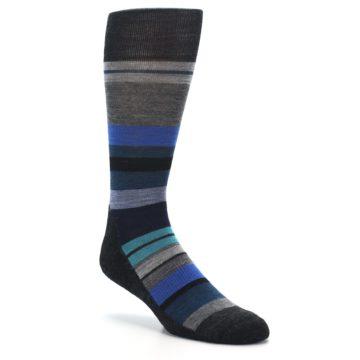 Image of Charcoal Blue Stripe Wool Men's Casual Socks (side-1-27)