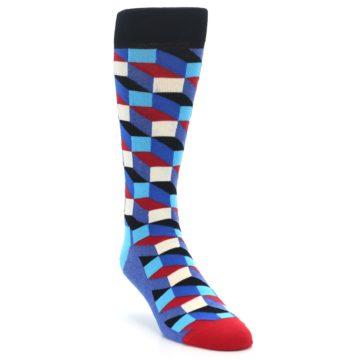 Image of Blue Red Black Optical Men's Dress Socks (side-1-front-02)