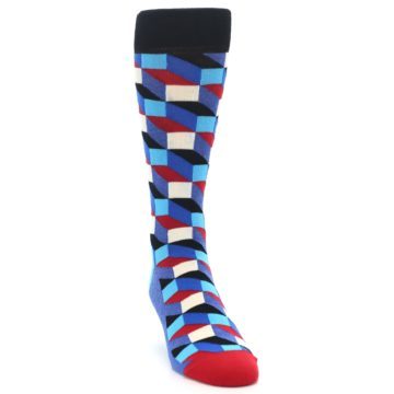 Image of Blue Red Black Optical Men's Dress Socks (side-1-front-03)