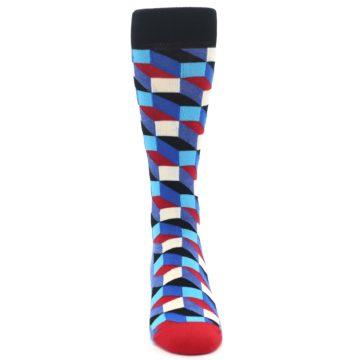 Image of Blue Red Black Optical Men's Dress Socks (front-04)