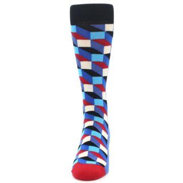 Image of Blue Red Black Optical Men's Dress Socks (front-05)