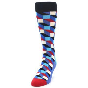 Image of Blue Red Black Optical Men's Dress Socks (side-2-front-06)