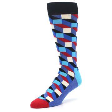 Image of Blue Red Black Optical Men's Dress Socks (side-2-front-08)