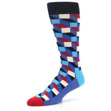 Image of Blue Red Black Optical Men's Dress Socks (side-2-09)
