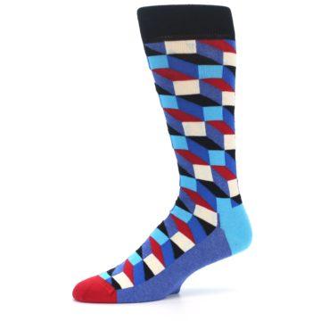 Image of Blue Red Black Optical Men's Dress Socks (side-2-10)