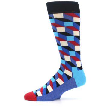 Image of Blue Red Black Optical Men's Dress Socks (side-2-11)