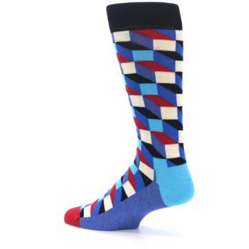 Image of Blue Red Black Optical Men's Dress Socks (side-2-13)