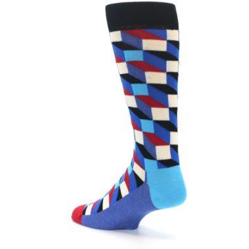 Image of Blue Red Black Optical Men's Dress Socks (side-2-back-14)