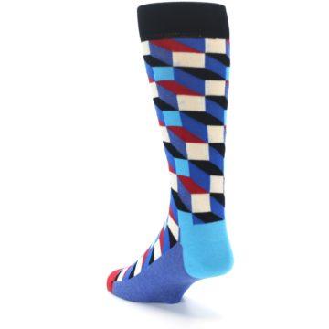 Image of Blue Red Black Optical Men's Dress Socks (side-2-back-15)