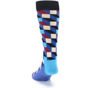 Image of Blue Red Black Optical Men's Dress Socks (side-2-back-16)