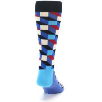 Image of Blue Red Black Optical Men's Dress Socks (back-19)