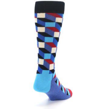 Image of Blue Red Black Optical Men's Dress Socks (side-1-back-20)