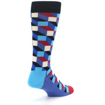 Image of Blue Red Black Optical Men's Dress Socks (side-1-back-21)