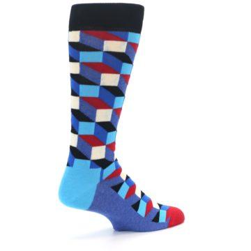 Image of Blue Red Black Optical Men's Dress Socks (side-1-back-22)