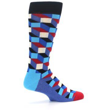 Image of Blue Red Black Optical Men's Dress Socks (side-1-23)