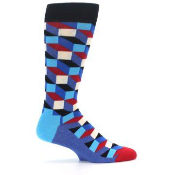 Image of Blue Red Black Optical Men's Dress Socks (side-1-24)