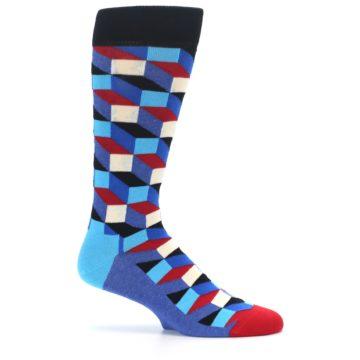 Image of Blue Red Black Optical Men's Dress Socks (side-1-25)